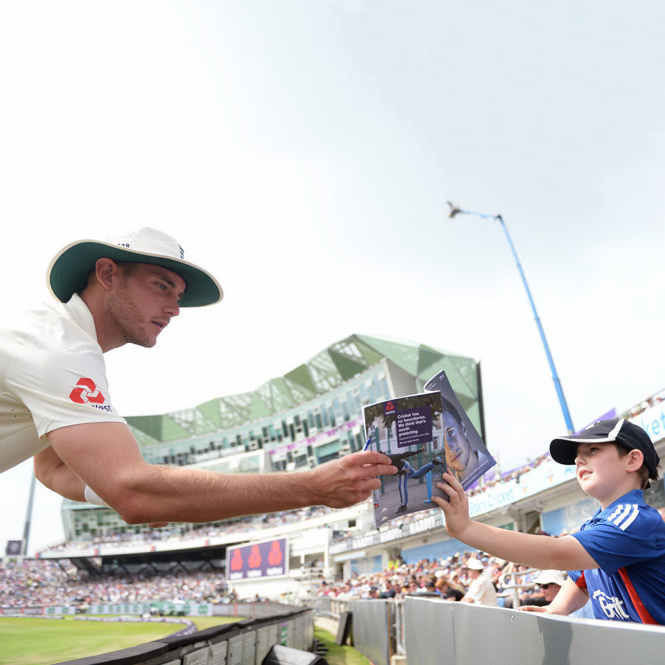 England cricketer hands fan an ECB programme