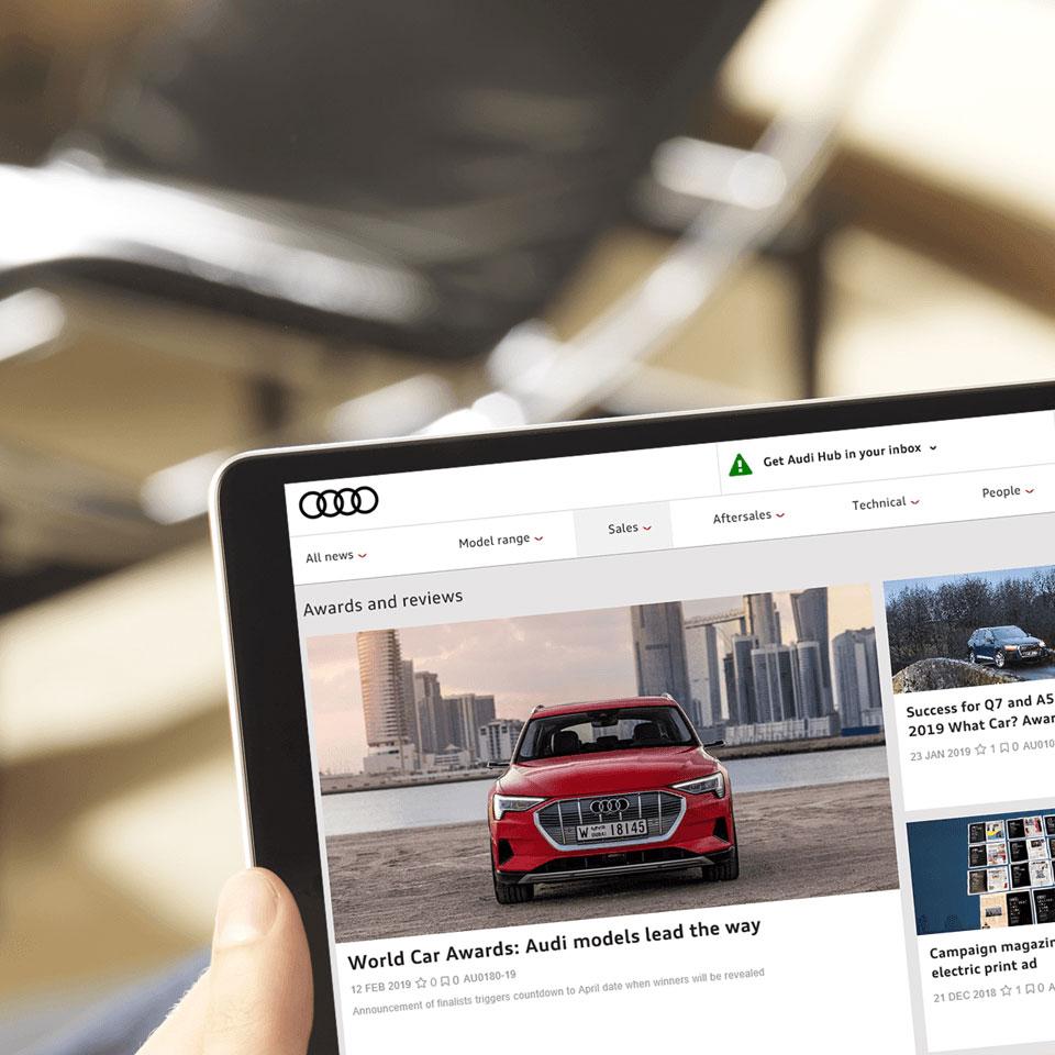 Audi website on an iPad